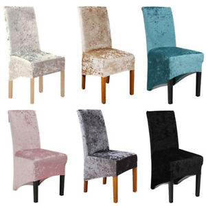 1/4/6X Crushed Velvet Dining Chair Covers Stretchable Christmas Slipcover Decor