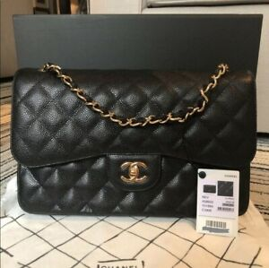 Chanel bag Classic Jumbo Caviar 100% Authentic with Gold Hardwar