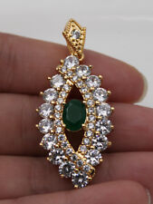18K Gold Filled - Emerald Hollow Cat Eye Oval White Topaz  Prom Lady Pendant