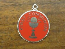 Religious Medal Opaque Enamel charm Vintage silver First Communion Catholic