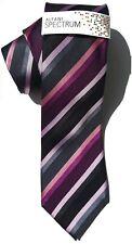 "NEW Mens Silk Tie Necktie Alfani Black Purple Silver Gray Stripe Slim 3"" A3735"