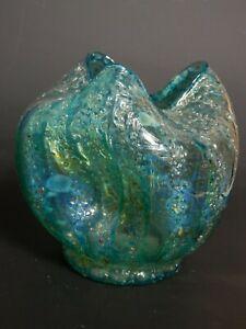 """C. 1905 Rare Dugan Glass Blue Japanese Pompeian Frit 4 1/4"""" Rose Bowl Lava"""
