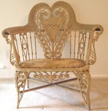 ANTIQUE VICTORIAN WICKER SETTEE HEYWOOD WAKEFIELD  Heart Shape (Pick up Only)