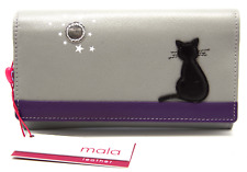 MALA Leather Cat Purse Grey Ladies Flap Over Cash Card Holder Wallet Purses RFID