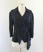 Black Gunmetal Sequin Beaded Wrap Tie Evening Blouse Size S Formal Party