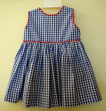 NWT ~  Bella Bliss Blue Gingham W/Red Trim Button Back Dress & Bloomers~Size 6M