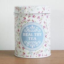 Retro White Blue Flower Home Kitchen Coffee Tea Can Container Jar Tin Metal