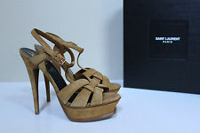 New sz 9 / 39 YSL Yves Saint Laurent Tribute Tan Suede Platform Sandal Shoes