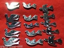 15 Relief Vögel  Silber ca:30mm Scrapbooking Streudeko Basteln Kartengestaltung