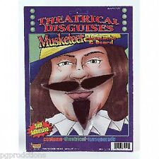 MUSKETEER MOUSTACHE & BEARD SET Costume Fake Facial Hair Mustache Goatee
