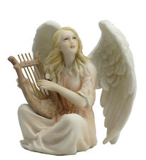 NEW Angel Sitting With Lyre Color Statue Figures Sculpture Hand Painted