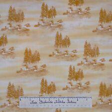 Riverwoods Fabric - Duck Loon Scene Cream - Woods Water Wildlife Last 1.25 Yards