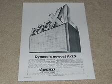 Dynaco A-25 Speaker Ad, 1974, Article, Info, 1 pg