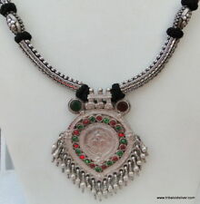 Silver Necklace Pendant India Antique Ethnic Tribal Old