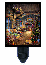 Night Light - Elk Cabin - Christmas Log Cabin - Holiday