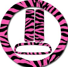 Pink Zebra Steering Wheel Cover, 2 Seat Belt Covers & Rearview Mirror Cover