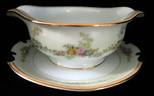 Meito China Made in Japan Gravy Boat Hand Painted Gold Gilded Edge Floral Decor.