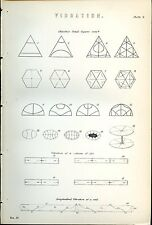 Vibration Column of Air 1885 Original Print from Engraving Chladni Sand-figures