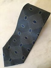 Pal Zileri Mens 100% Silk Tie Blue & Beige Geometric Italy Luxury