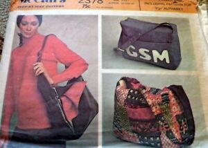 *LOVELY  VTG 1970s MONOGRAM BAG McCALLS Sewing Pattern UNCUT