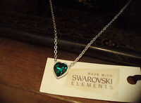 Emerald Green Crystal Heart Necklace Made with Swarovski Elements