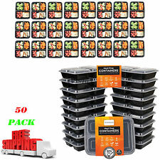 50 Meal Prep Containers Plastic Food Storage Reusable Microwavable 3 Compartment