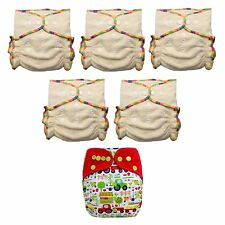 Organic Hemp Fitted Cloth Diapers W TWO Inserts OS (5 Pack + Free Diaper Cover)