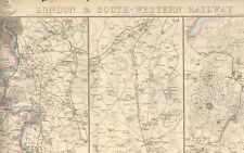 1863  LARGE ANTIQUE MAP - DISPATCH ATLAS- LONDON AND SOUTH WESTERN RAILWAY