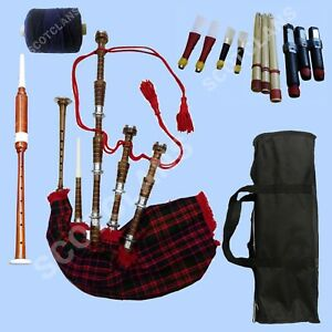 Great Scottish Highland Bagpipe Natural Silver Mounts Dudelsack Gaita Tutor Book
