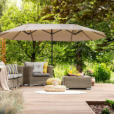 Outsunny Outdoor Large Manual Double Sided Patio Umbrella Beige