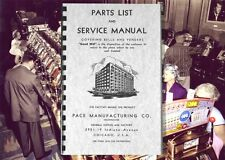 PACE COMET SLOT MACHINE and Front & Side VENDER PARTS & Service Owners MANUAL