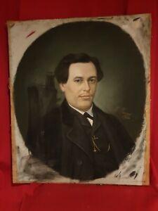 Pastel ancien, portrait d'homme, signé, daté, XIX ème s