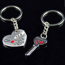 "New 2Pcs Metal Couple Key Chain Ring Keyring Keyfob Lover ""I Love You""  Gift"