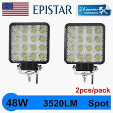 2pcs 48W 12V 24V LED Work Light Spot Light OffRoad ATV SUV 4.3'' Jeep Truck QUIN