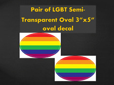 "LGBT Oval 3""x5"" Transparent Oval Decal Gay Pride Windshield sticker rainbow Love"