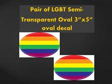 "LGBT Oval 3""x5"" Transparent Oval Decal Gay Pride Windshield sticker rainbow Love"