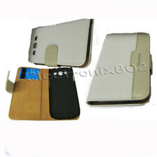 Leather Wallet Case Card Pouch White & Cream For Samsung Galaxy S3 SIII i9300 UK