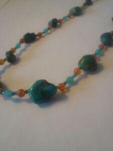 "Authentic turquoise necklace 15"" with chalcedony & aquamarine"