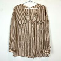 Witchery Womens Brown 100% Silk Striped Long Sleeve Blouse Top Size 12