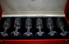 "6 CARTIER BRANDY / COGNAC CARVED CRYSTAL GLASSES 4"" TALL - WITH BOX"