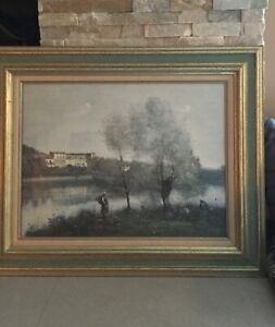 A Beautiful Barbizon French Impressionism Landscape Giclee By Corot Framed