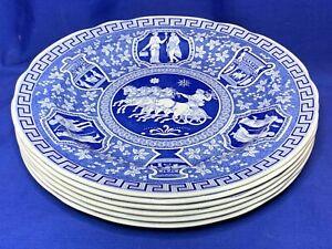 Spode china Blue Room Series set of 6 Greek pattern dinner plates