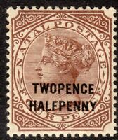 South Africa Natal 1891 brown 2.5 on 4d overprint T27 crown CA mint SG109