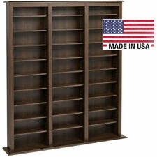 Tall Wooden Media Storage Shelf, 27 Shelves Dark Wood Espresso Brown or Black