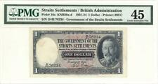 Straits Settlements $1 Dollar Currency Banknote 1933 PMG 45 CHOICE XF