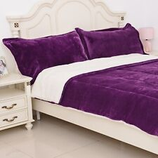 Purple Quilted Micro Velvet 100% Polyester Flannel 3 pcs Comforter Set King