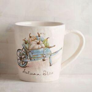 PIER 1 AUTUMN BLISS Wagon Blue Wheelbarrow Pumpkins Fall Ceramic Mug Coffee Cup