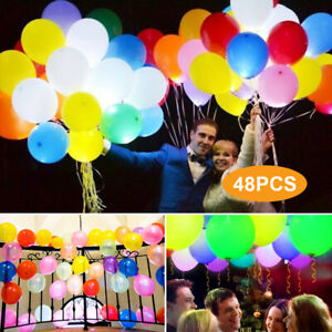 48 Pack LED Light Up Balloons PERFECT PARTY Decoration Wedding Birthday
