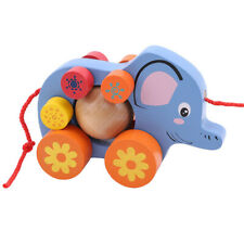 Infant Wooden Elephant Push Along Walker Toy Baby Learn To Stand shan