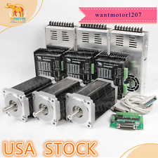 USA freeWantai 3Axis Nema34 Stepper Motor Dual Shaft 1600oz 3.5A&Driver 7.8A CNC